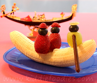 Banana gondola dessert for kids