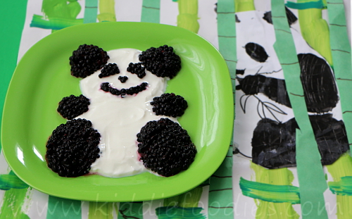 Panda fruits and yogurt dessert for kids