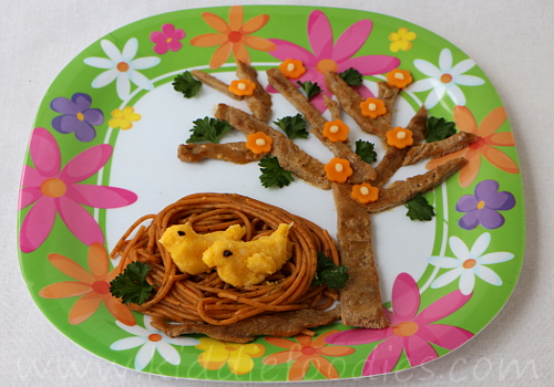 Birds in a nest meal for kids - veal, pasta and cauliflower step2