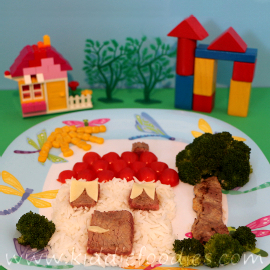 Little edible Lego house meal for kids