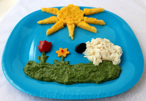 Sheep in a meadow - fish, spinach, polenta easy meal for kids