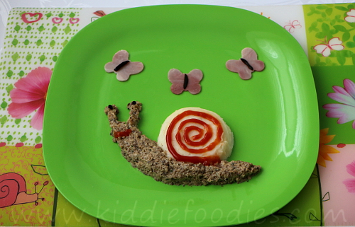 Snail and butterflies meal for kids