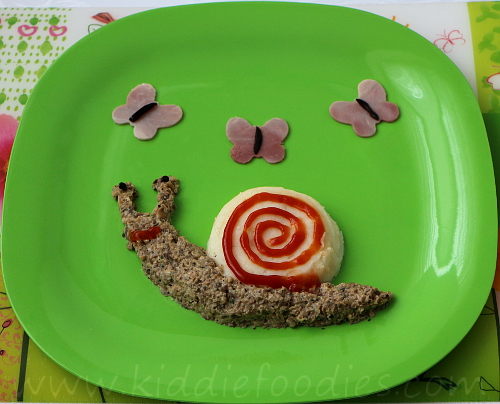 Snail and butterflies meal for kids step4