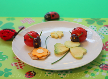 Tomato ladybugs snack for kids
