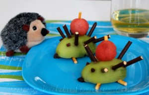 Green kiwi hedgehog dessert