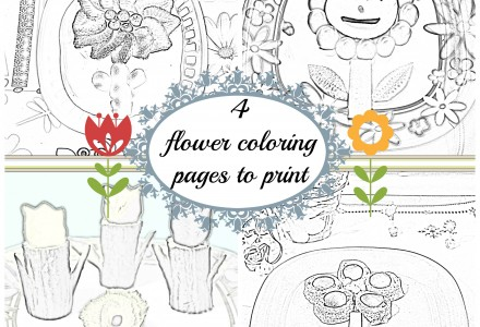 4 flower coloring pages to print