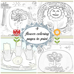 4 coloring pages with flowers to print