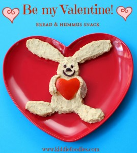 Be my Valentine rabbit with a hear, healthy snack for kids, bread and hummus