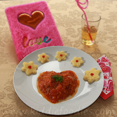 Heart shaped ground beef and tomatoes meal for kids