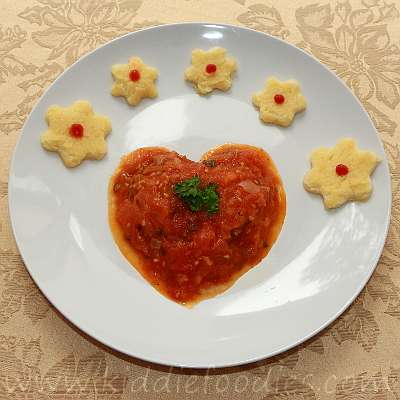 Heart shaped beef and tomatoes