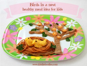 Birds in a nest - pasta, veal, veggies and cheese, healthy meal for kids