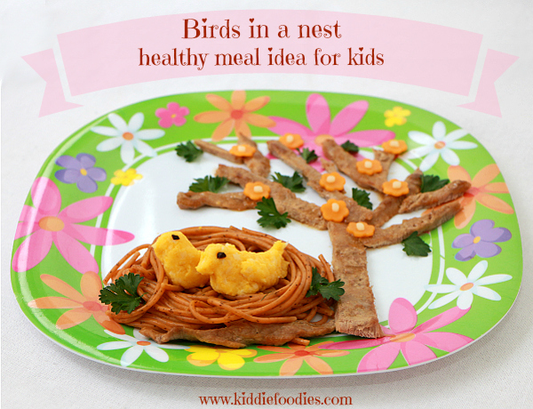 Birds in a nest - pasta, veal, veggies and cheese, healthy meal for kids  #healthymeal, #pastarecipe, #maindish
