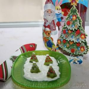 Christmas trees kiwi and yogurt dessert for kids
