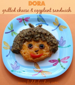 Dora grilled cheese and eggplant sandwich for kids, #hotsandwich, #lunchforkids, #grilledcheese