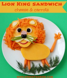 Lion King sandwich cheese and carrots, healthy lunch for kids