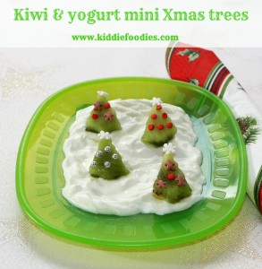 Mini Christmas Trees dessert made from kiwi and yogurt