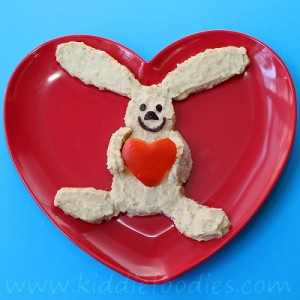 Rabbit with a heart hummus snack for kids step2