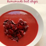 Red velvet soup with homemade beet chips