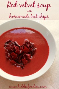 Red velvet soup with homemade beet chips, #souprecipe, #beetchips, #heart
