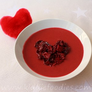 Red velvet beetroot soup with homemade beets chips