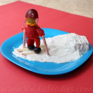 Skiing kiddie strawberry and yogurt dessert for kids