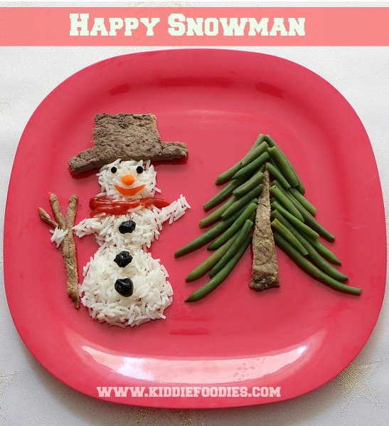 Snowman made with rice, beef steak, pine made with green beans