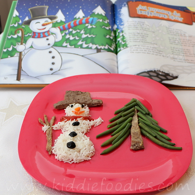 Snowman made of rice, beef and green beans