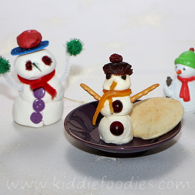 Snowman mozzarella snack for kids