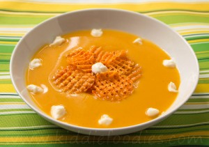 Squash soup with sweet potato chips