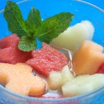 Fruit salad with verbena syrup