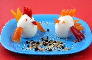 Little chicks healthy snack for kids made of egg and pepper