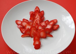 Strawberry maple leaf dessert for Canada day 1st of July
