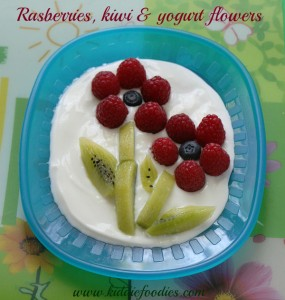 Fresh fruit flower, raspberries and kiwi, easy recipe for healthy dessert