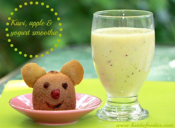 Kiwi and apple smoothie with a little kiwi bear
