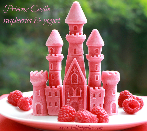 Princess castle - frozen raspberries and yogurt with title