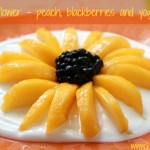 Sunflower - peach, blackberries and yogurt easy dessert for kids with title