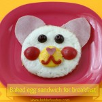Teddy bear – baked eggs sandwich for breakfast