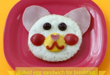 Teddy bear baked eggs sandwich for breakfast
