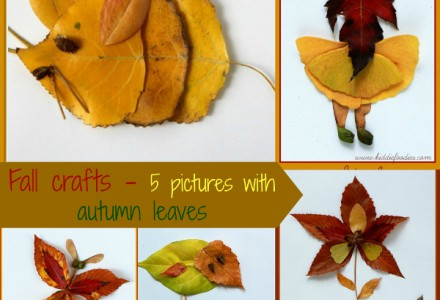 Fall crafts - 5 pictures with autumn leaves2