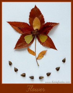 Fall crafts - how to create pictured with leaves -Flower