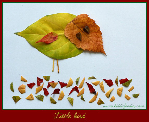 Fall crafts - how to create pictured with leaves - Little bird