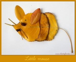 Fall crafts - how to create pictured with leaves - Little mouse