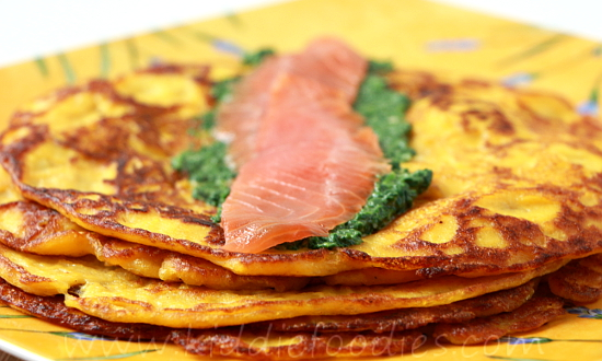 Pumpkin recipes - homemade pancakes wraps with salmon, spinach and ricotta step5