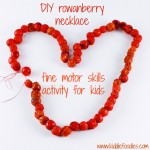 DIY rowanberry necklace – fine motor skills activity for kids