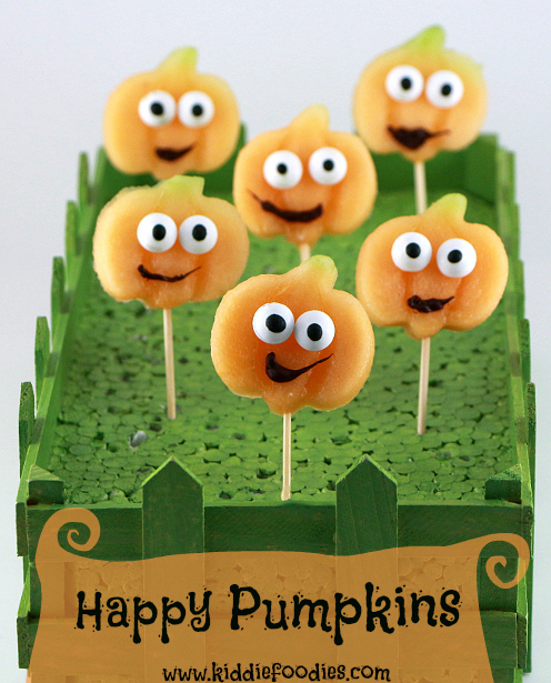 Happy pumpkins - Halloween party food ideas for kids - Kiddie Foodies