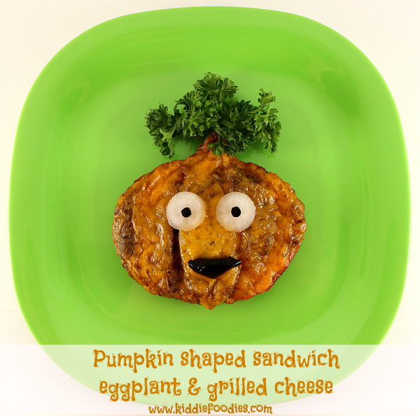 Pumpkin shaped, grilled eggplant and cheese sandwich for kids title