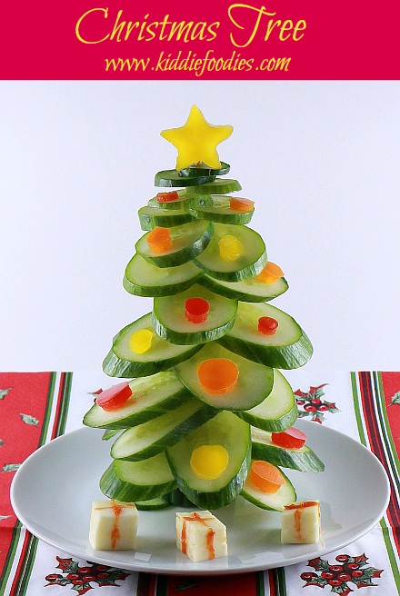 Cucumber Christmas Tree Vegan Snack For Kids Kiddie