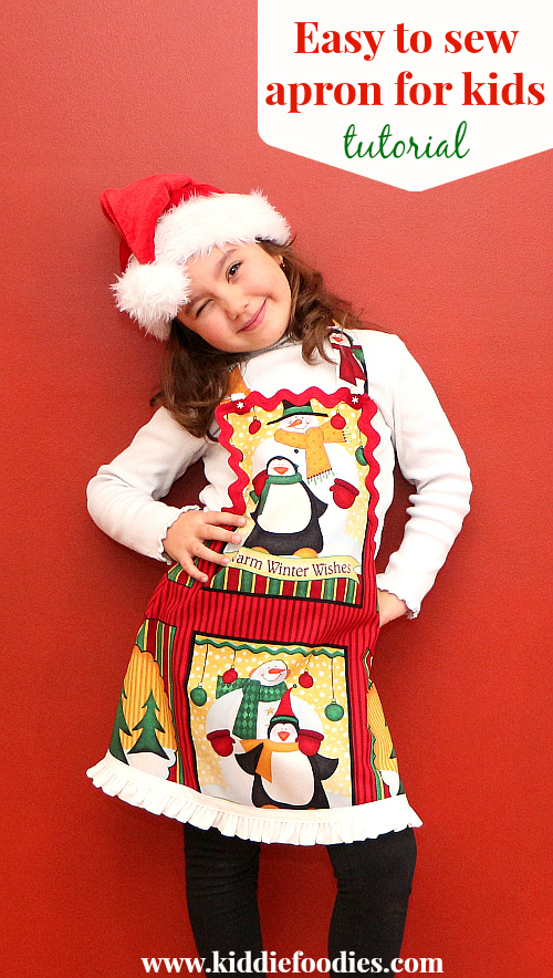 Easy to sew Christmas apron for kids tutorial - Kiddie Foodies