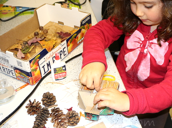 Recycled crafts for kids - forest house - tissue box, pine needles & cones, fall leaves step0