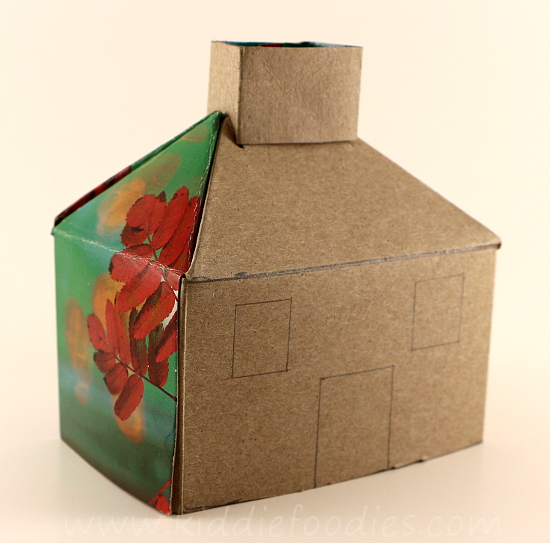 Recycled crafts for kids - forest house - tissue box, pine needles & cones, fall leaves step2a